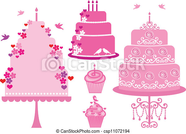 wedding and birthday cakes, vector - csp11072194