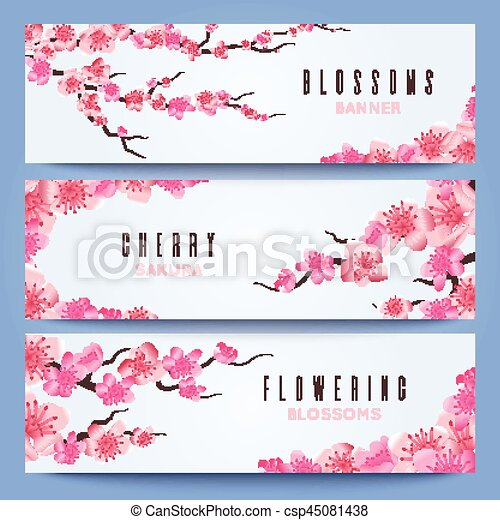 Wedding banners template with spring japan sakura, cherry blossom ...