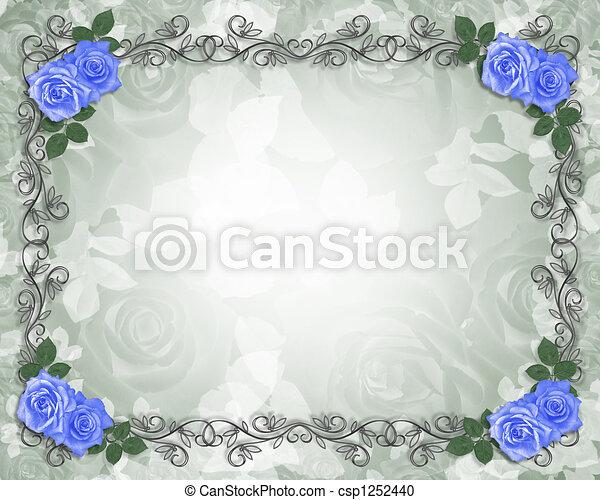 Wedding Blue roses border - csp1252440