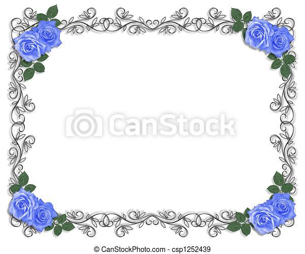 Wedding Blue roses border - csp1252439