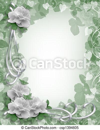 Wedding Border White Roses - csp1394605