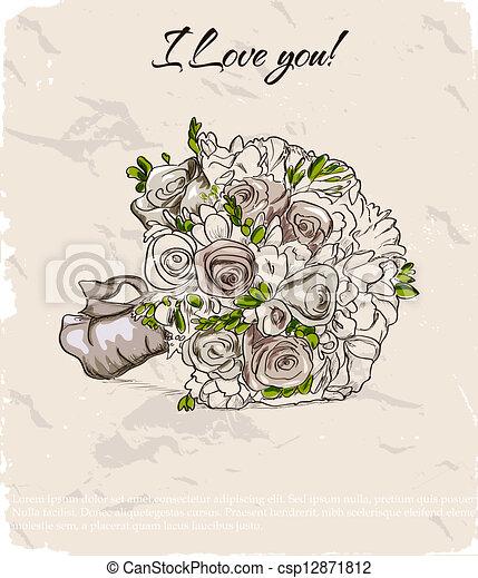 Wedding bouquet. Hand drawn illustration - csp12871812