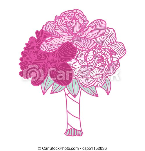 Wedding bouquet illustration made of peonies - csp51152836