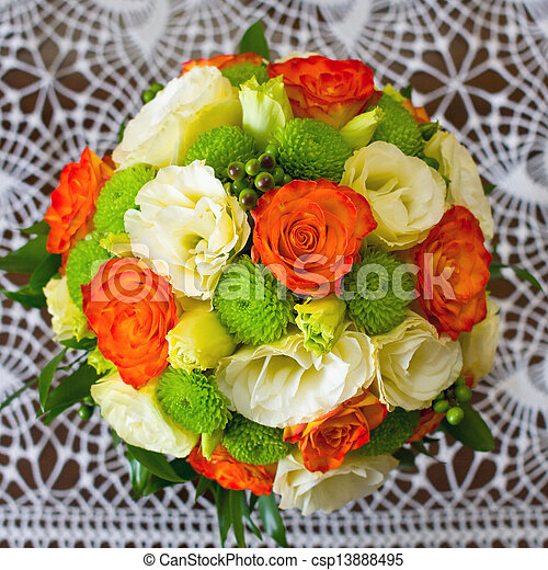 Wedding bouquet of yellow and white and orange roses wedding bouquet of yellow and white and orange roses csp13888495 mightylinksfo