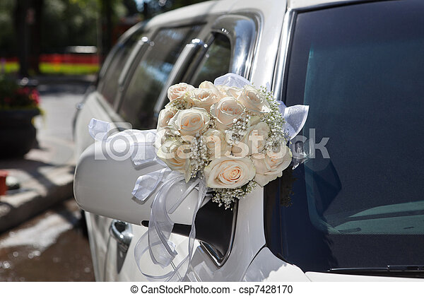 Wedding Bouquet on Limo - csp7428170