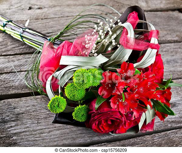 wedding bouquet on vintage old wood - csp15756209
