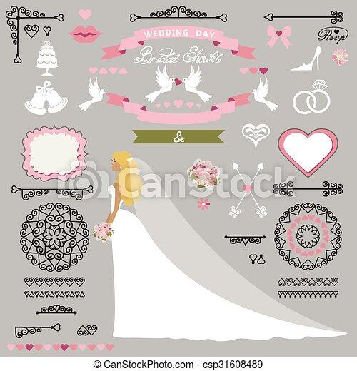 Wedding Bridal Shower Decor Set Bride Invitation Kit
