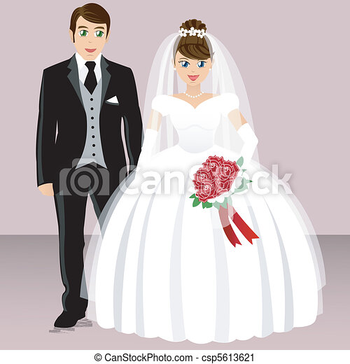 wedding - bride and groom - csp5613621