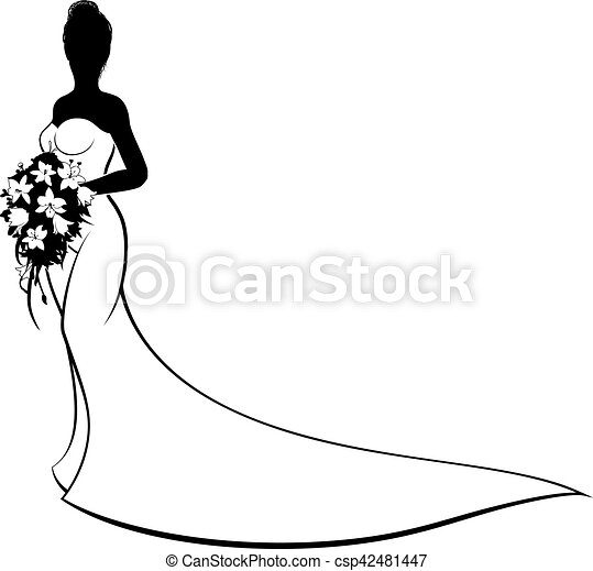 wedding bride silhouette holding bouquet bride silhouette eps rh canstockphoto com clip art brides clip art bride and groom free