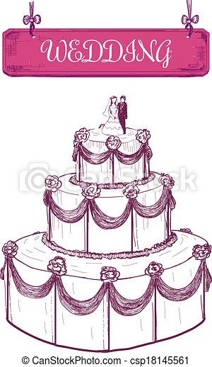 Wedding Cake Hand Drawn Illustration