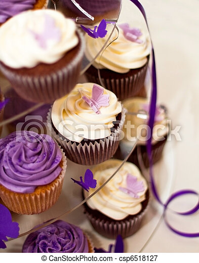 Wedding Cake -Closeup on Beautiful Yummy Cupcakes - csp6518127