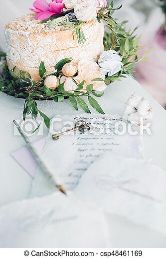 Beautiful Wedding Cake Decorated With Fresh Flowers