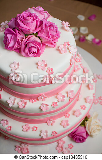 White wedding cake decorated with roses and pink sugar flowers wedding cake decorated with roses csp13435310 mightylinksfo