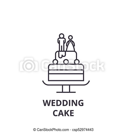 Wedding Cake Line Icon Outline Sign Linear Symbol Vector - Wedding Cake Outline