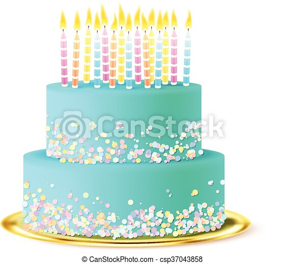 Wedding Cake Realistic Two Tier Light Blue Clipart
