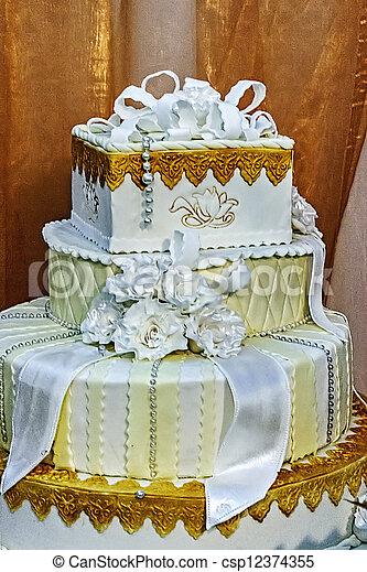 Wedding cake specially decorated. - csp12374355