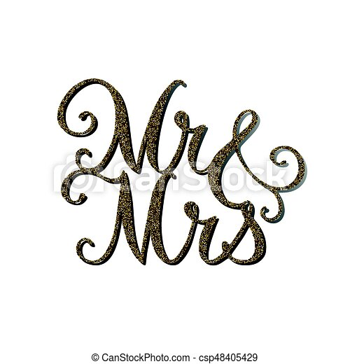 Wedding Cake Topper Vector Words Mr And Mrs With Gold Glitter