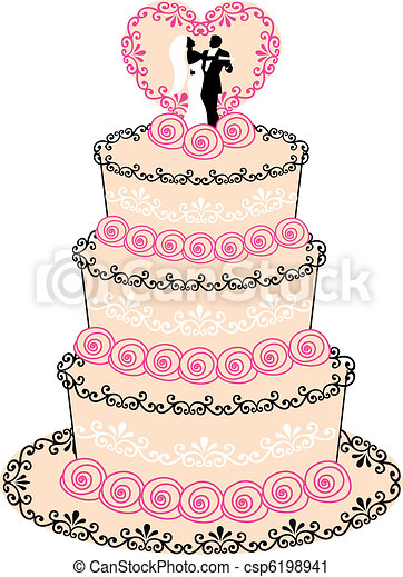 Wedding Cake Vector Wedding Cake With Couple Heart And Roses