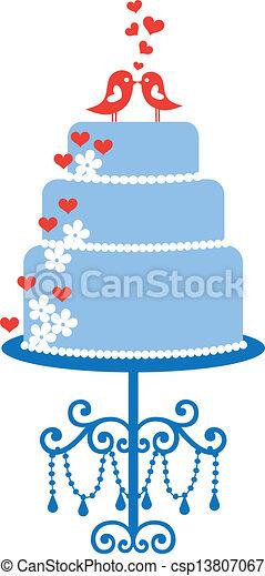 wedding cake with birds, vector - csp13807067