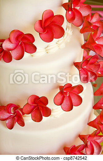 Wedding cake with red flowers closeup of a white wedding cake with wedding cake with red flowers csp8742542 mightylinksfo