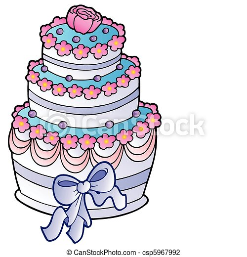 Wedding Cake With Ribbon Vector