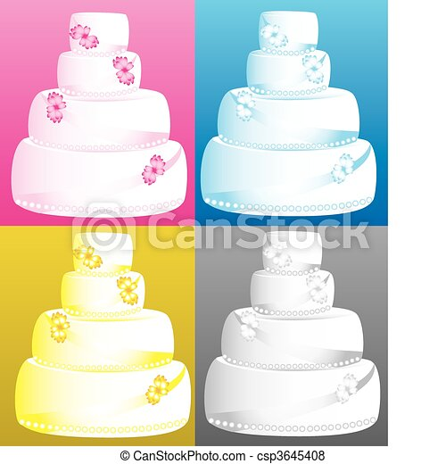 Wedding Cakes Vector Illustration Of 4 Four Tier Wedding Cakes