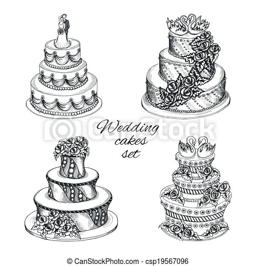 Wedding cakes set - csp19567096