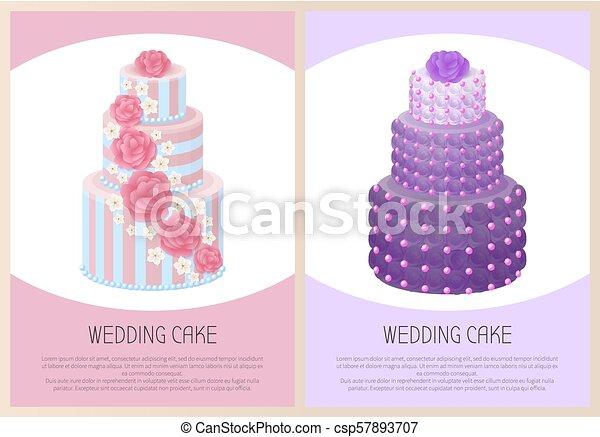 Wedding Cakes Set Sweet Bakery Posters Vector Text - csp57893707