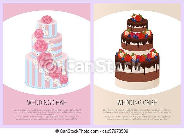 Wedding Cakes Set Sweet Bakery Posters Vector Set - csp57973509