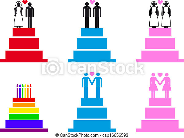 wedding cakes with couples, vector  - csp16656593
