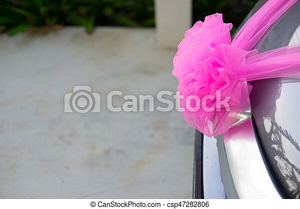 Wedding Car Decorations With Pink Bow In Thailand