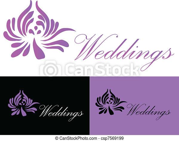 Wedding card invitation logo black purple and white eps vectors