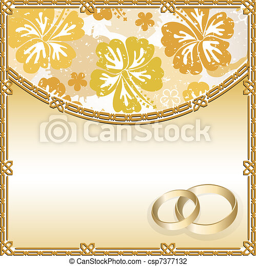 Wedding card with a floral pattern - csp7377132