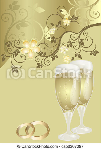 Wedding card with a floral pattern - csp8367097