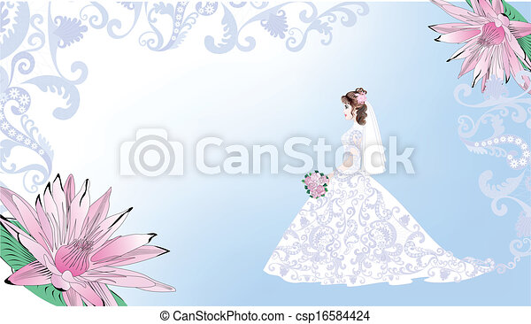 Wedding card with bride on a blue background - csp16584424