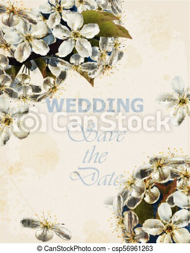 Wedding Card With Cherry Flowers Vector Beautiful Spring Frames Wedding Card With Cherry Flowers Vector Beautiful Spring Canstock