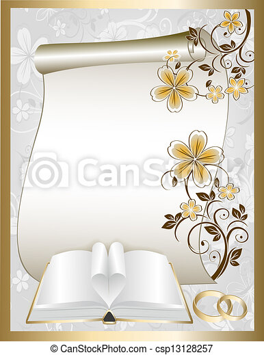 Wedding card with floral pattern - csp13128257