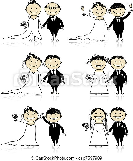 Wedding ceremony - bride and groom together for your design  - csp7537909