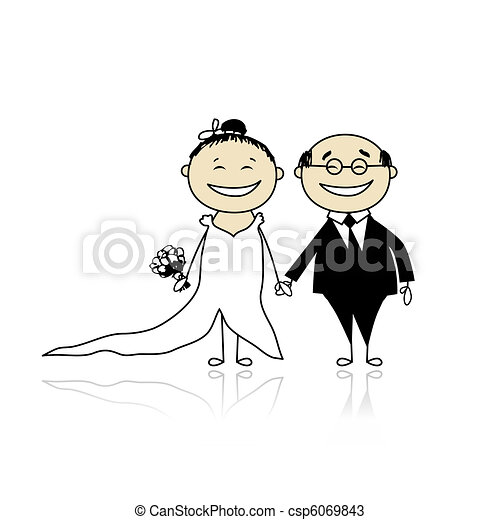 Wedding ceremony - bride and groom together for your design  - csp6069843