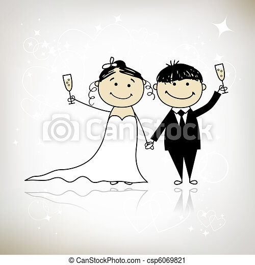 Wedding ceremony - bride and groom together for your design  - csp6069821