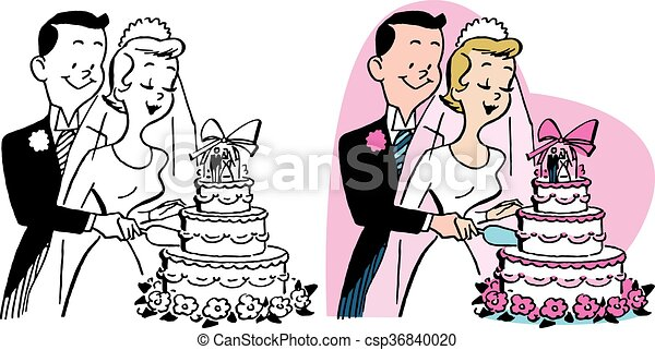 Wedding Couple Cuts Cake A Newly Married Couple Cutting Their