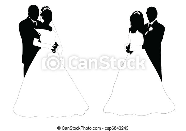 Wedding Couple Wedding Couple Silhouette Isolated On White Canstock