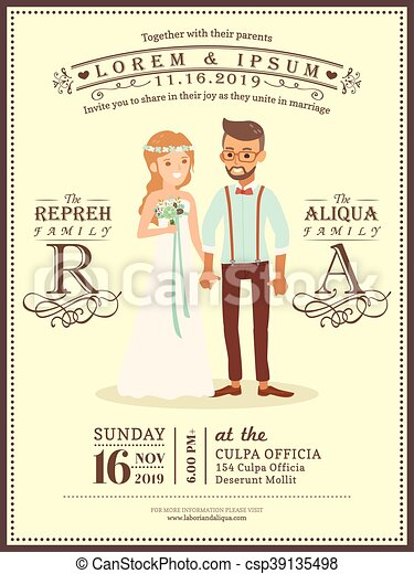 Wedding Couple Groom And Bride Cartoon Invitation Card Template