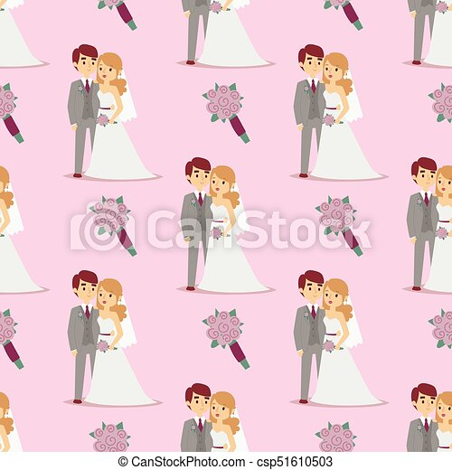 Wedding couple is hugging each other vector seamless pattern girl in white dress and man in suit beauty bride with groom female and male character. - csp51610503