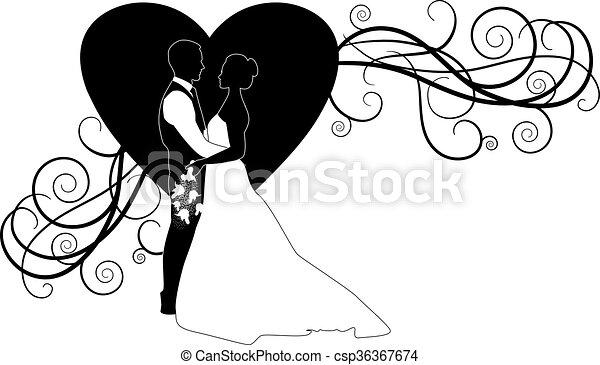 wedding couple ORNATE HEART - csp36367674