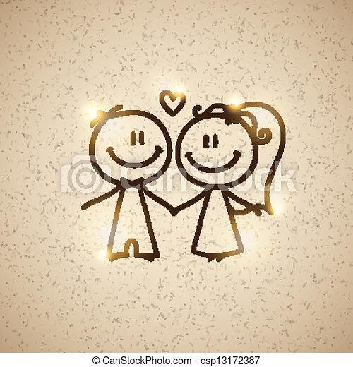 wedding couple, vector eps 10 - csp13172387