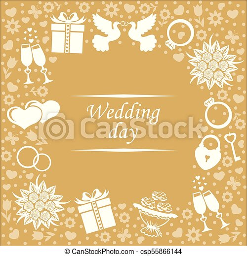 Wedding Day Card On Gold Background