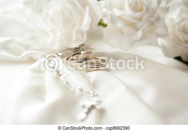 Wedding day Wedding rings isolated on light background stock