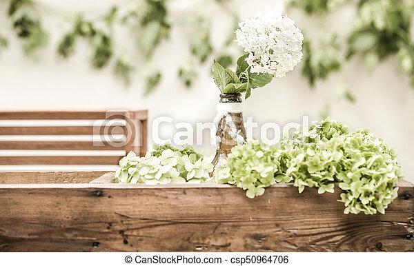 wedding decor with flowers - csp50964706