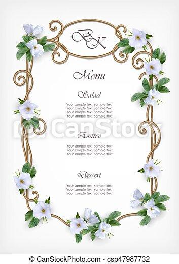 Wedding decorative frame wedding menu card with decorative wedding decorative frame csp47987732 junglespirit Gallery